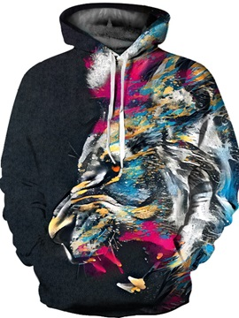 Printed Colorful Lion Face Unisex Pullover 3D Painted Hoodie