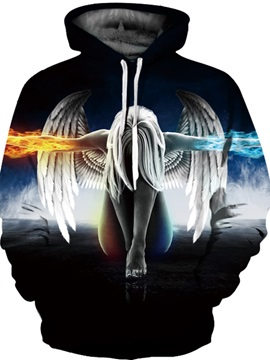 Unisex Pullover Printed Angel Fire and Ice Realistic 3D Painted Hoodie