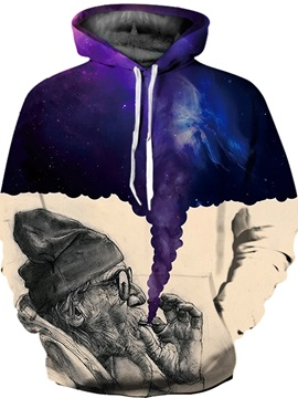 Unisex Realistic Printed Old Man Smoking Pullover 3D Painted Hoodie
