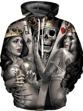 Cool Long Sleeve Skull King with Beauties 3D Painted Hoodie