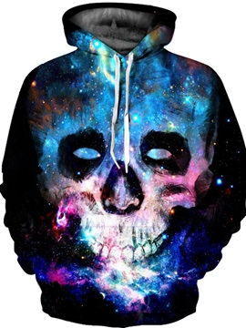 Unique Long Sleeve Colorful Skull Face Pattern 3D Painted Hoodie