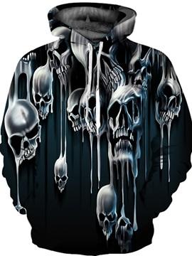 Cool Long Sleeve Horrible Skulls Pattern 3D Painted Hoodie