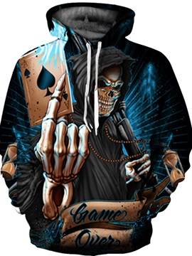 Special Long Sleeve Skull Playing Cards Pattern Front Pocket 3D Painted Hoodie