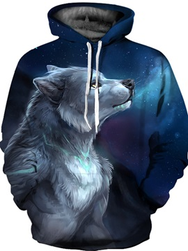 Cool Wolf Graphic Clear Print Pullover Lightweight 3D Painted Hoodie