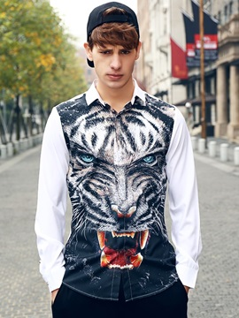Loose Model Casual Style Long Sleeve Polyester 3D Painted Shirt