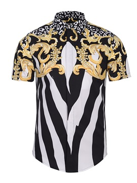 Printed Pattern Vivid Color Short Sleeve Loose Model 3D Painted Shirt