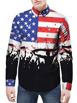 Long Sleeve Printed Graphic Loose Model 3D Painted Shirt