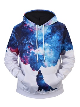 Realistic Graphic Loose Model Kangaroo Pocket 3D Painted Hoodie