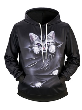 Vivid Color Casual Style Loose Model Kangaroo Pocket 3D Painted Hoodie