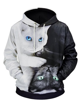 Creative Cat Graphic Lightweight Vivid Color 3D Painted Hoodie