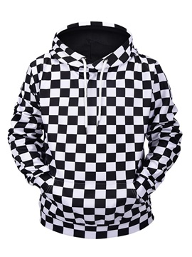 Black&White Plaid Cool Design Casual Style Kangaroo Pocket 3D Painted Hoodie