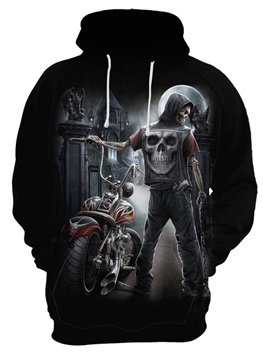 Cool Design Skull Polyester Loose Model Workout 3D Painted Hoodie