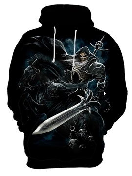 Skull Casual Style Fall Spring Polyester Realistic Pattern 3D Painted Hoodie