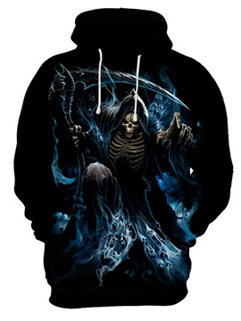 Skull Halloween Realistic Casual Style Loose Model Pullover 3D Painted Hoodie