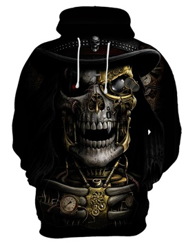 Skull Long Sleeve Round Neck Fall Spring 3D Painted Hoodie