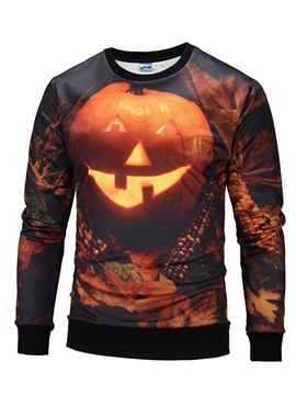 Halloween Pumpkin Pullover Vibrant Color 3D Painted Hoodie