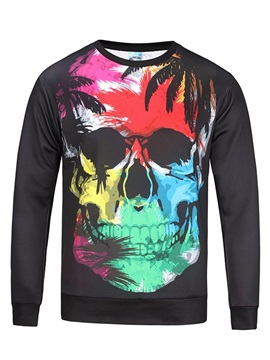 Halloween Skull Lightweight Vibrant Color Pullover 3D Painted Hoodie