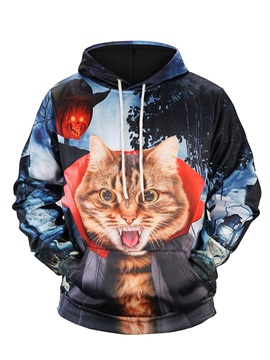 Loose Model Polyester Cool Design Realistic 3D Painted Hoodie