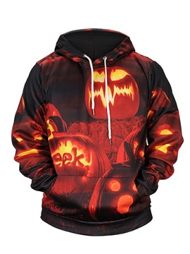 Polyester Halloween Lightweight Pullover Casual Style 3D Painted Hoodie