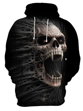 Halloween Skull Cool Design Loose Model Pullover 3D Painted Hoodie