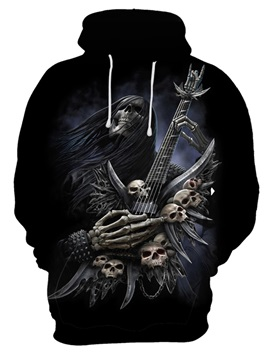 Kangaroo Pocket Skull Vibrant Color Loose Model 3D Painted Hoodie