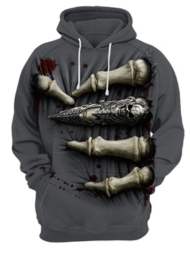 Skull Halloween Loose Model Kangaroo Pocket 3D Painted Hoodie