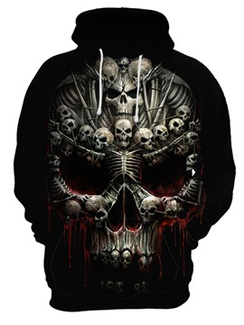 Lightweight Pullover Polyester Casual Style Skull 3D Painted Hoodie