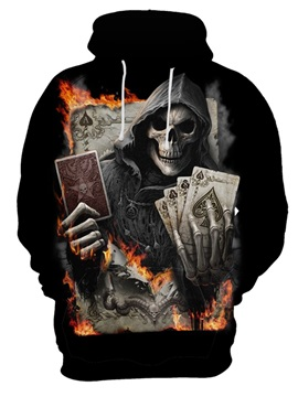 Skull Pullover Kangaroo Pocket Lightweight Cool Design 3D Painted Hoodie