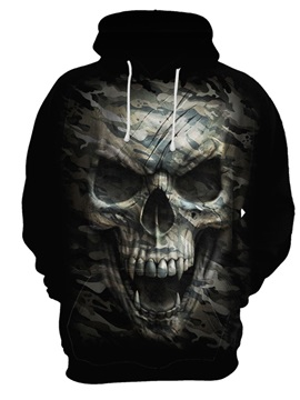Pullover Unisex Fall Spring Halloween Loose Model 3D Painted Hoodie