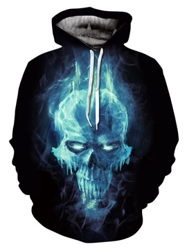 Skull Halloween Loose Model Kangaroo Pocket Lightweight 3D Painted Hoodie