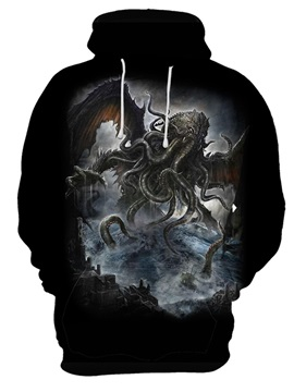 Casual Style Pullover Loose Model Unisex Polyester 3D Painted Hoodie
