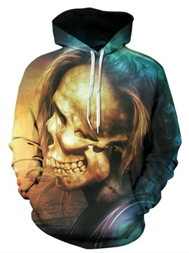 Athletic Loose Model Pullover Long Sleeve Skull 3D Painted Hoodie