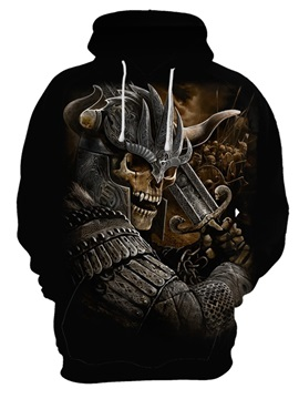 Skull Printed Funny Design Polyester Thin Pullover 3D Painted Hoodie