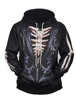 Lightweight Fastness Pullover Long Sleeve Round Neck 3D Painted Hoodie