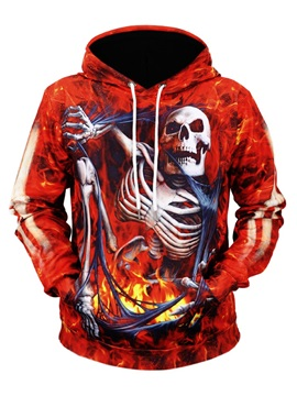 Skull Vibrant Color Pullover Kangaroo Pocket 3D Painted Hoodie