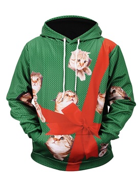 Christmas Gift Lightweight Loose Model Workout Polyester 3D Painted Hoodie