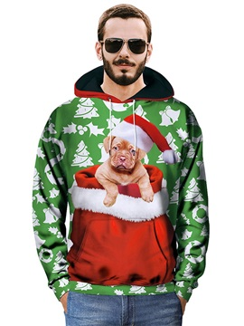 Christmas Lightweight Casual Style Polyester Athletic 3D Painted Hoodie