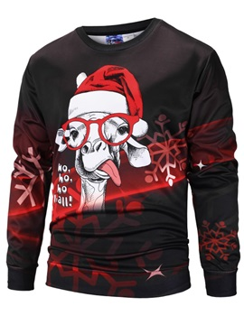 Christmas Loose Model Polyester Lightweight 3D Painted Hoodie