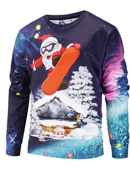 Christmas Funny Design Pullover Loose Model 3D Painted Hoodie
