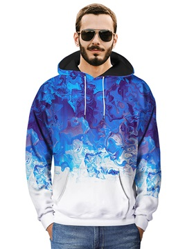 Kangaroo Pocket Loose Model Polyester 3D Painted Hoodie