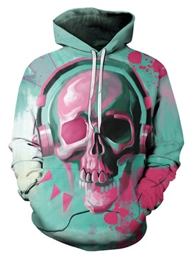 Skull Polyester Loose Model Pullover Lightweight 3D Painted Hoodie