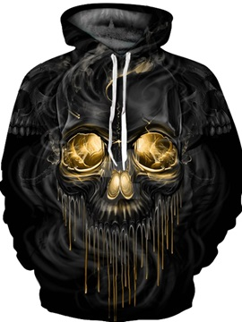 Skull Pullover Loose Model Athletic Polyester Unisex 3D Painted Hoodie