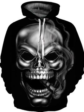 Skull Pullover Kangaroo Pocket Loose Model Athletic 3D Painted Hoodie