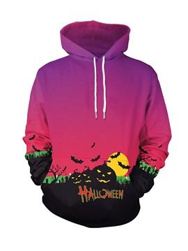 Halloween Pumpkin and Bat Loose Model Red 3D Painted Hoodie