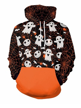 Halloween Ghost and Spider Web Loose Model 3D Painted Hoodie