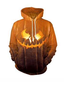 Halloween Orange Pumpkin Lantern Loose Model Polyester 3D Painted Hoodie