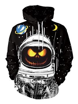 Spacesuit and Halloween Pumpkin Long Sleeve 3D Painted Hoodie