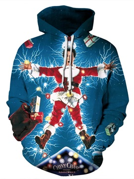 Christmas Vibrant Color Kangaroo Pocket 3D Painted Hoodie