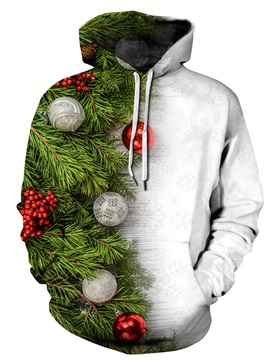 Loose Model Christmas Lightweight Pullover 3D Painted Hoodie