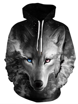 Pullover Lightweight Cool Wolf Loose Model Athletic 3D Painted Hoodie